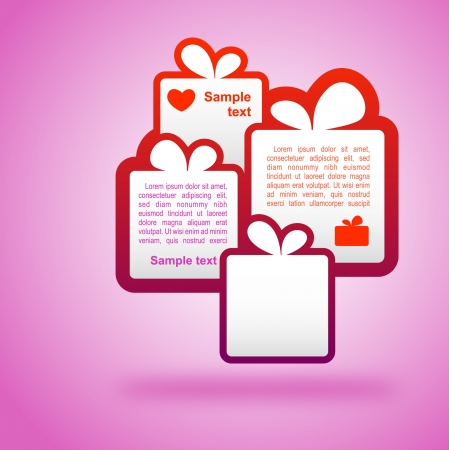template gift boxes on a pink background  Vector