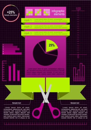 better business: Reduce costs_Division business structure for better business efficiency_Scissors cut paper_Set of infographic elements