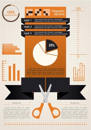 Nożyczki, Pojęcie Zestaw infographic elementów dokumentów