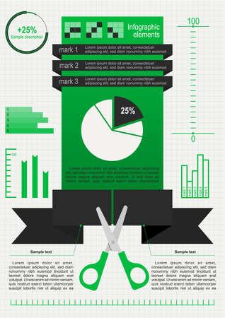 benefits: Set of infographic elements_Cutting scissors