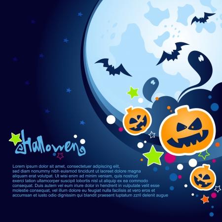 citrouille halloween: Halloween Party de fond avec une grande lune, fant�mes et citrouilles Illustration