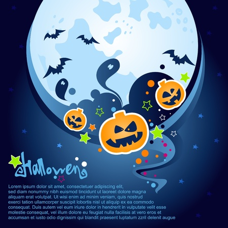 Halloween Party Background with a large moon, ghosts and pumpkins  Vector