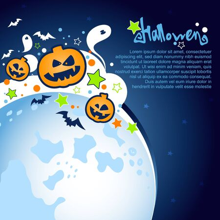 halloween kids: Halloween Party Background with a large moon, ghosts and pumpkins