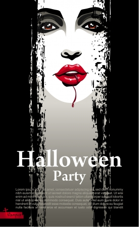 Halloween Party Design template with vampire Vector