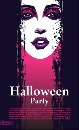 Halloween vector card or background_Attractive girl with bright makeup  Vector