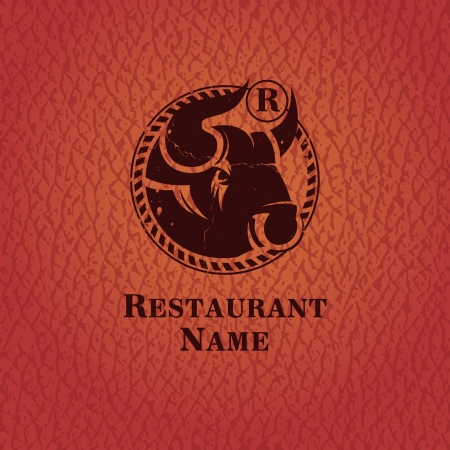Head of bull_Template design restaurant   Vector
