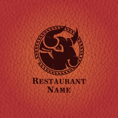 haunch: Head of cow_Template design restaurant   Illustration