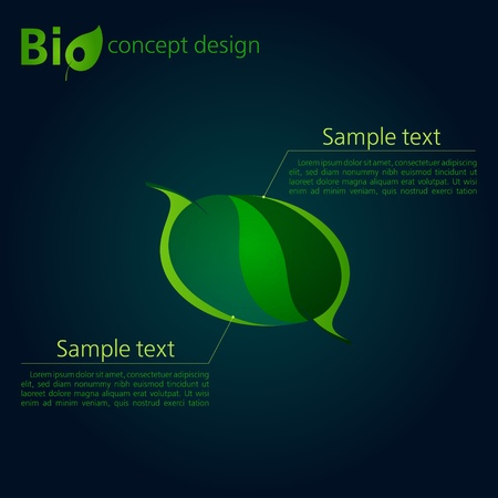 office environment: Green template for advertising brochure with two leaves