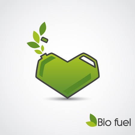 hybrid car: Bio fuel_Vector concept of green cans in the form of heart   Illustration