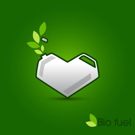 Canister in a heart shape with ecological fuel Vector