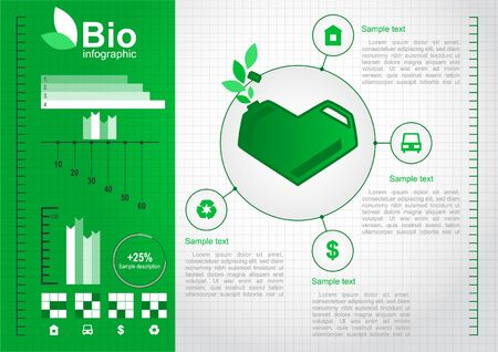 Eco design concept with a green heart-shaped cans_Eco infographic elements_Vector set  Vector