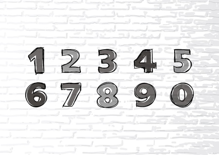 Hand-drawn numbers  Vector sketch illustration isolated on a white brick wall  Vector
