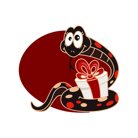 Funny snake_Christmas illustration Vector