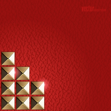 rivet: Fashion background of red leather and gold rivets