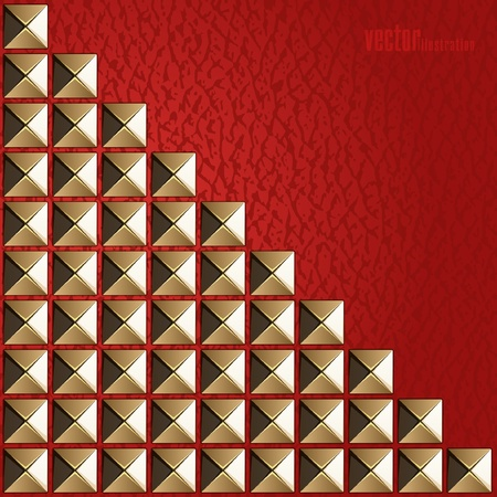 Fashion background of red leather and gold rivets Vector