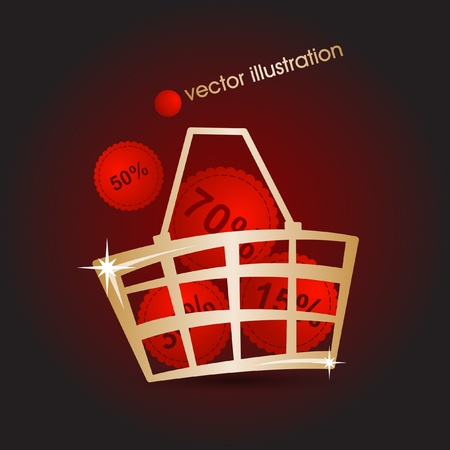 Gold market basket filled with red discounts_illustration  Vector