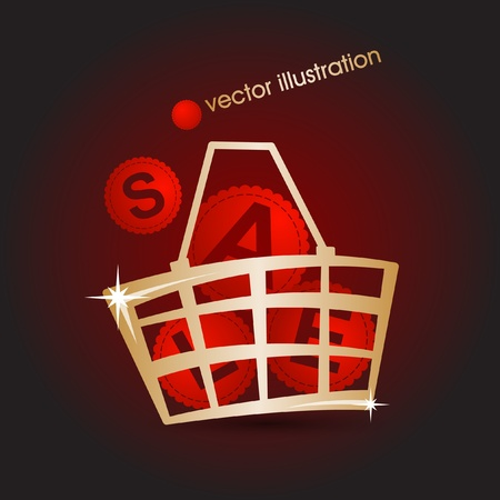 Gold market basket filled with red discounts illustration  Vector