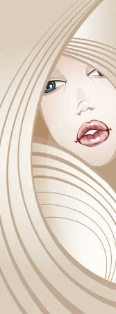 Beautiful Blonde Girl_long hair_Banner  Vector