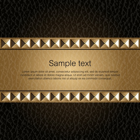 Design template_Leather background with golden metal rivets  Vector