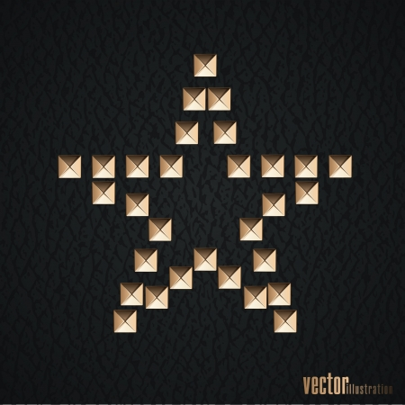 Star symbol of metal rivets on the black leather background  Vector