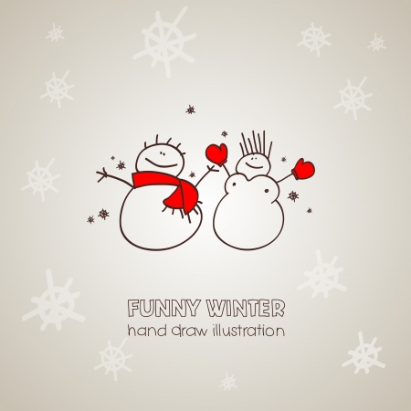 Hand drawn Christmas and New Years postcard with funny snowmen Stock Vector - 16464017