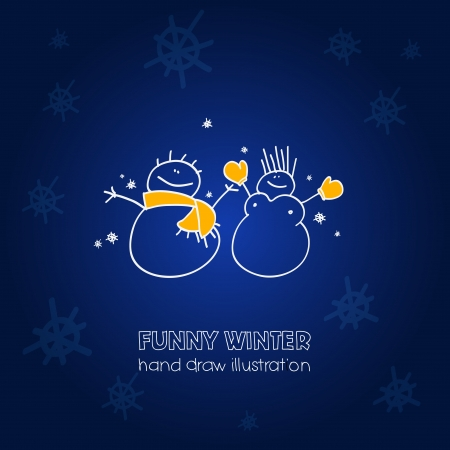 Funny illustration of a couple of snowmen  Vector