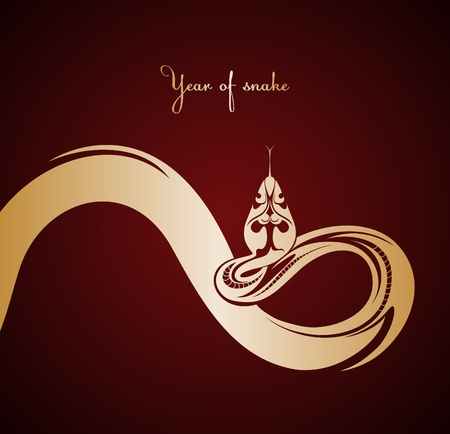 Abstract golden snake  Christmas illustration  Vector