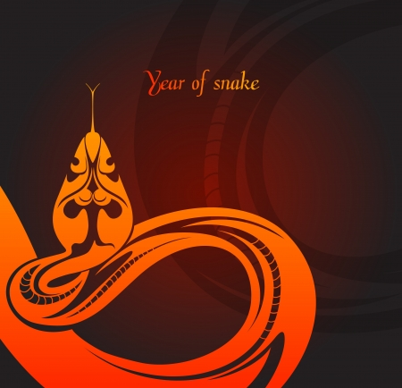 New year s card with snake  Stock Vector - 16843181