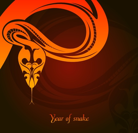 New year s card with snake Stock Vector - 16843202