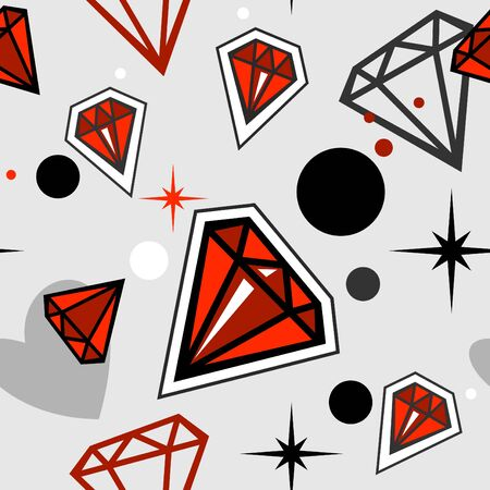 Fashionable seamless pattern with red jewels  Vector