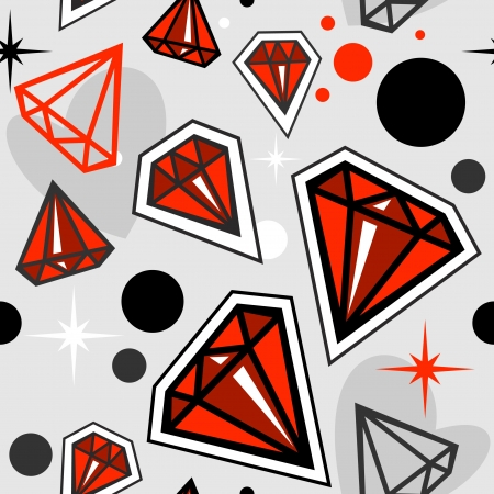 Fashionable seamless pattern with red jewels Stock Vector - 17442020
