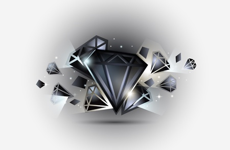 diamond shaped: Vector illustration of a black jewelery