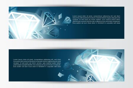 Set of banners, abstract headers with white jewels  Vector
