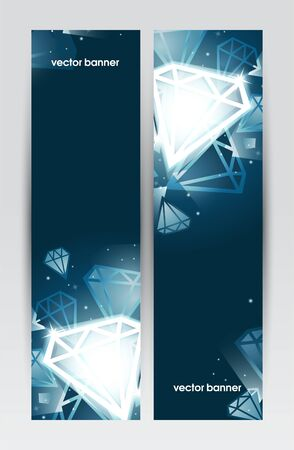 Set of banners, abstract headers with white jewels Stock Vector - 17231603