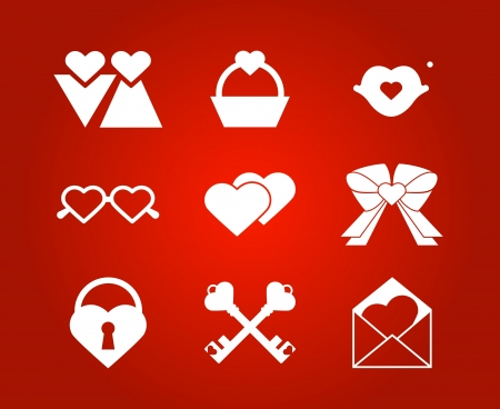 Heart valentine icon set illustration  Vector