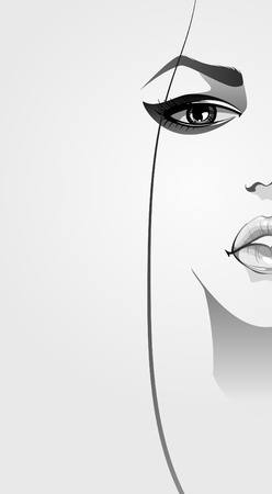 natural face: Beautiful woman face close-up with make-up  illustration