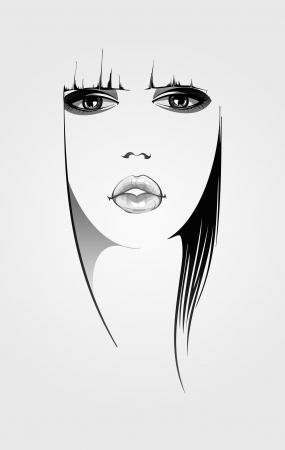 perfil de mujer rostro: Mujer ilustraci�n rostro Vectores