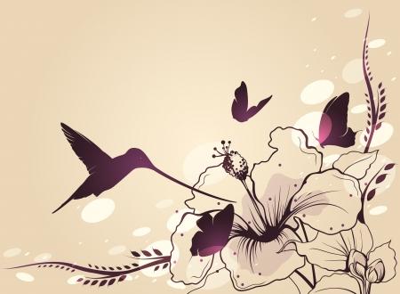 ave del paraiso: Colibrí en vuelo con una flor y mariposas Vector