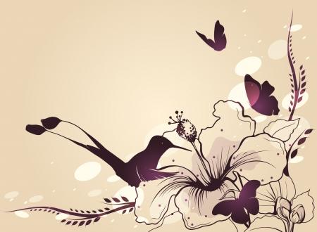 humming: Colibr� en vuelo con una flor y mariposas Vector