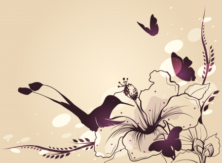 exotic flowers: Hummingbird in flight with a flower and butterflies  Vector