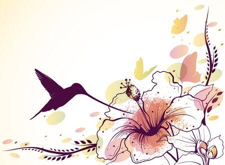 birds in flight: Vector background with flowers, hummingbird and butterflies