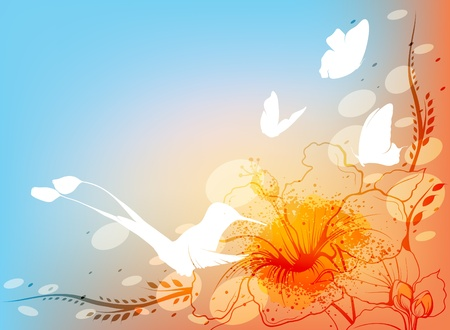 Floral background with hummingbird and butterflies  Vector