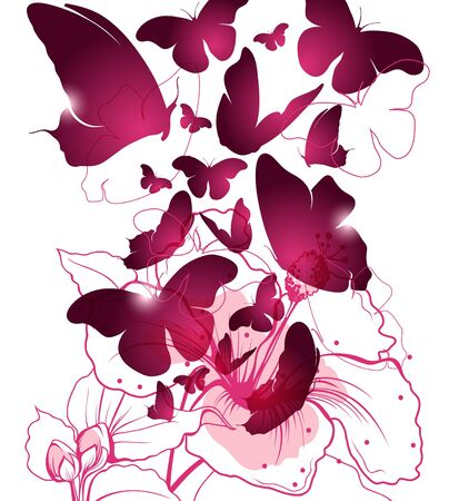 Vector illustration of butterflies and flower  Vector