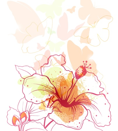 fantasize: Background with blossoming flower and flying butterflies  Illustration
