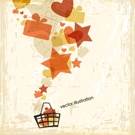 gift basket: Shopping basket with a lot of gifts, hearts and stars