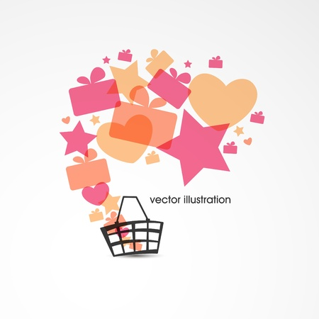 fryer: Sale design with basket, multicolored gift boxes, stars and hearts  Vector illustration  Illustration