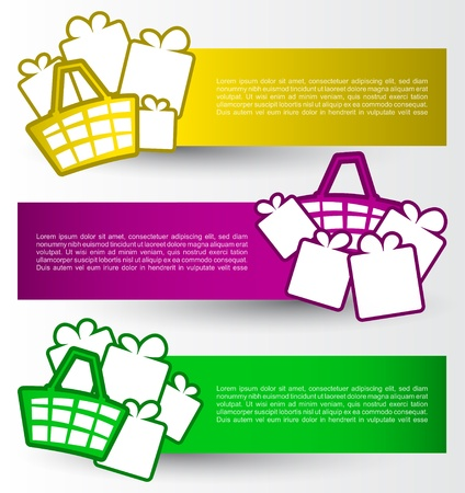 Colorful banners with shopping basket and gifts