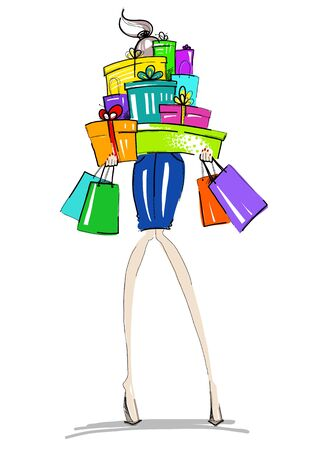 woman credit card: Fashion girl with gifts and shopping