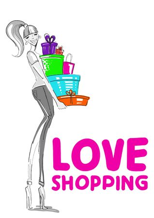 Fashion Illustration  Girl with gifts  Vector