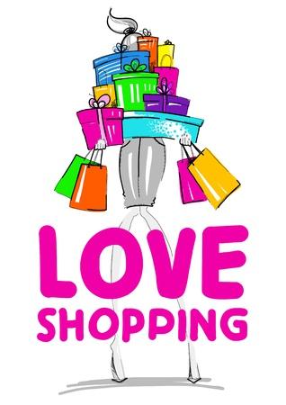 fashion shopping: Fashion Illustration  Girl with gifts